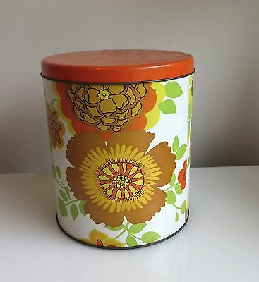 Vintage WILLOW Canister RETRO Floral Orange 1960's-70's