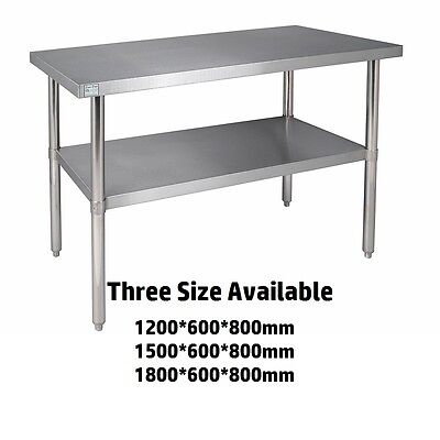 Commercial Stainless Steel Kitchen Work Bench Catering Table Shelf Backsplash