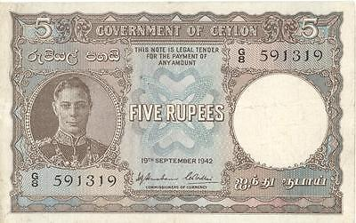 Ceylon 5 Rupees Currency Banknote 1942