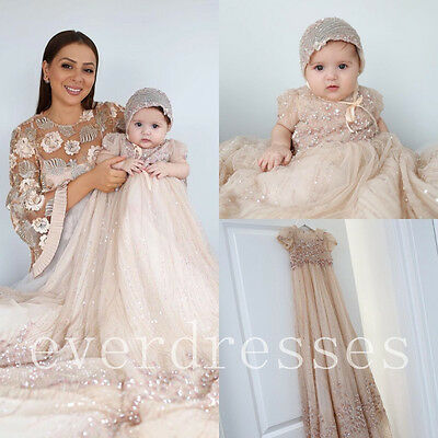 Luxury Champagne Baptism Dresses Crystals Beaded Christening Gowns Long