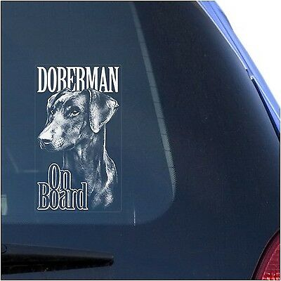 Doberman Clear Vinyl Decal Sticker for Window Dobermann Pinscher Dog Sign Art...