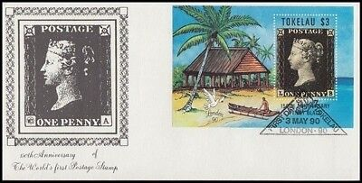 TOKELAU 1990 LONDON 1d. BLACK $3 MINI SHEET FDC (ID:181/D45495)