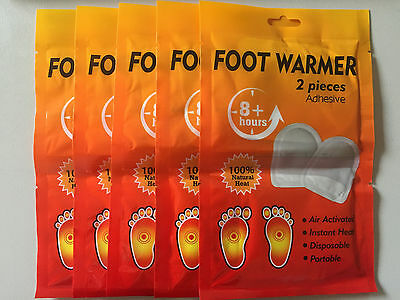 10 x Stick On Instant  Foot/Toe Warmers (5 pairs) - Keep Warm in the snow!