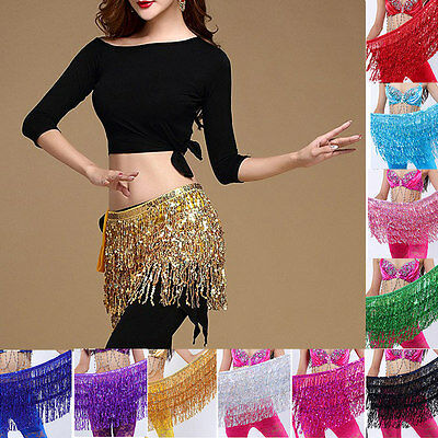 Belly Dance Costume Sequin Tassel Fringe Hip Scarf Belt Waist Wrap Skirt 10Color