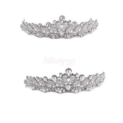 Bridal Princess Rhinestone Pearl Crystal Hair Tiara Wedding Crown Veil Headband