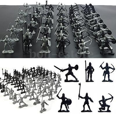 AU 60Pcs Set Medieval Knights Warriors Kids Toy Soldiers Kit Figure Models Hot
