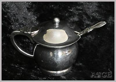 Vintage Paramount A1 EPNS silver plated mustard pot with liner & spoon