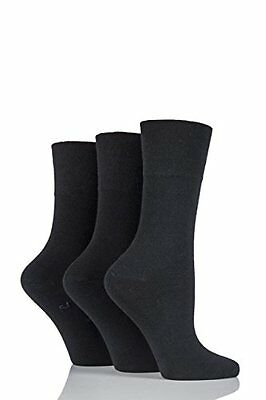 12 Pairs Non Elastic Diabetic Ladies Black Loose Soft Top Rich Cotton Plain Sock
