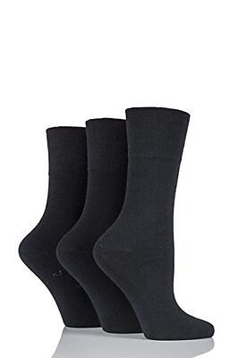 3 Pairs Non Elastic Diabetic Ladies Black Loose Soft Top 100% Cotton Plain Socks