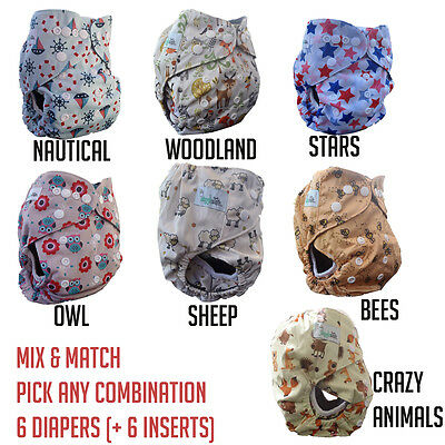 6 Baby Cloth Diapers + 5 Layer Charcoal Bamboo Inserts (6 Pack) - Mix & Match