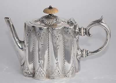 Antique English Silver Plate Bachelor Tea Pot - Hand Chased - 2 Cups