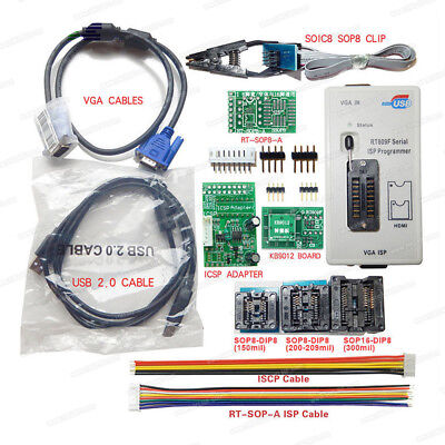 RT809F Serial ISP Programmer with Clip ICSP 1.8V Adapter VGA USB Cables Board