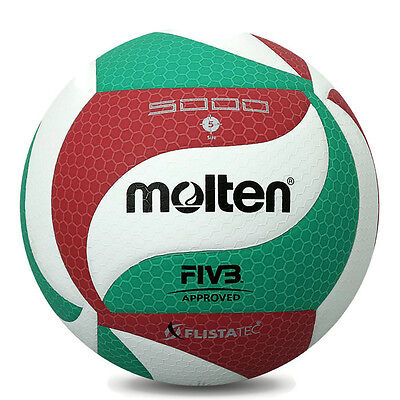 Volleyball Ball Official Size V5 Molten M5000 Leather Indoor Outdoor Volley Game