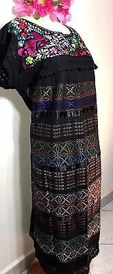 Hand loomed & Embroidered Wedding Dress Size L to XL Frida 5 D MAYO Black Cotton