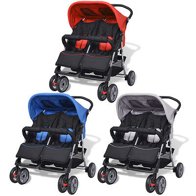 vidaXL Baby Kids Twin Toddler Stroller Pram Pushchair Buggy Steel 3 Colours