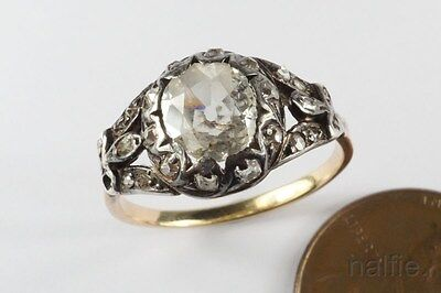 ANTIQUE ENGLISH GEORGIAN ERA 18K GOLD & SILVER OLD CUT DIAMOND RING c1800