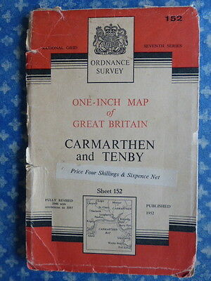 Old Antique Ordnance Survey One-Inch Map Carmarthen and Tenby