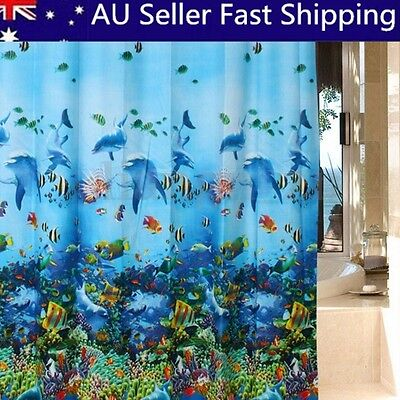 Bathroom Waterproof Fabric Blue Ocean Dolphin Pattern Shower Curtain 12 Hooks AU