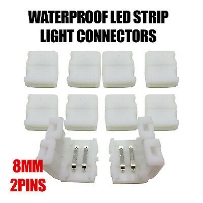 Waterproof LED Strip Light Connectors 8mm 2 pin for 3528 RGB Strips - UK Stcok
