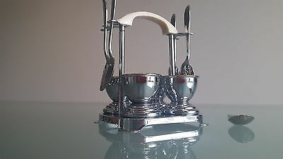 Art Deco Egg Cruet. This Is The Best. Great Design. Complete With Spoons. A1.