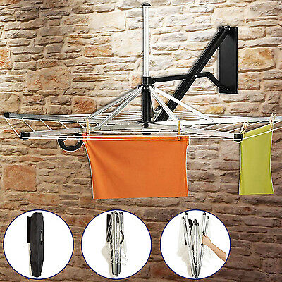 5 Arm Wall Mounted Rotary Dryer 30M Cloths Washing Line Airer Laundry-Free Cover