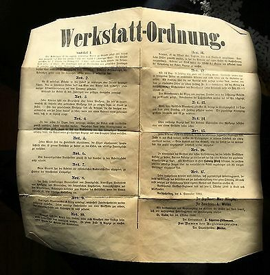 1893 SWITZERLAND ORGAN BUILDER WORKER Regulations POSTER BROADSIDE St. Gallen