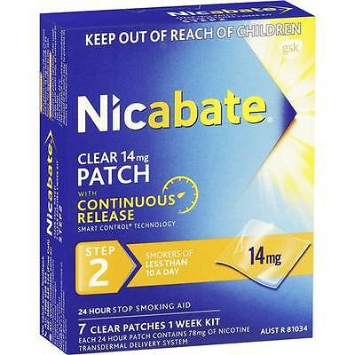 [AUSSIE~HOT~SALE] Nicabate Quit Smoking Patches Clear 14mg Step 2  7pk