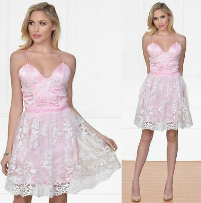 Pink White Lace Spaghetti Strap Bustier V Neck Skater Flare Mini Dress Cute NWT