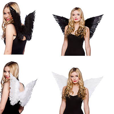 Adult Small / Large Feather Angel Fairy Fancy Dress Costume Wings Black / White