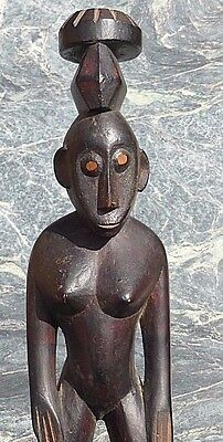 Good West African Tribal Art Senufo Bambara  Carved Figure Old Collection Stamp