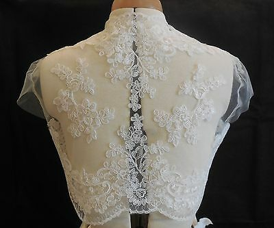 ivory bridal wedding lace floral bolero cover up ivory lace shrug coat Bust:36in