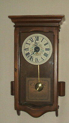 New England Clock Co. 8 day Wall Clock with Pendulum and Key, Vintage