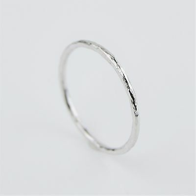 Sterling Silver 925 1mm Hammered Skinny Band Stacking Ring   FREE UK Delivery