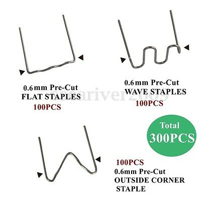 300X 0.6mm Pre Cut Wave Flat Hot Staples For Plastic Stapler Repair Welder Kit