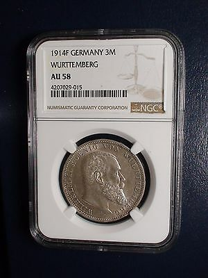 1914 F Germany 3 Mark NGC AU58 WURTTEMBERG 3M SILVER Coin PRICED FOR QUICK SALE!