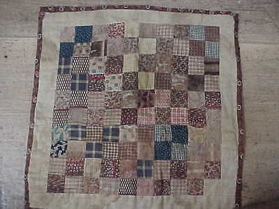 Great BROWN Fabrics Antique 1800's Vintage Doll Quilt Hand Pieced and Quilted