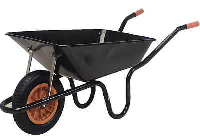 "85L Heavy Duty Builders Wheelbarrow Metal Pan 14"" Pneumatic Wheel + Bearings"