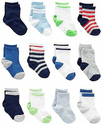Simple Joys by Carters Baby Boys Pack Socks, Blue/Grey/White, 12-24 Months