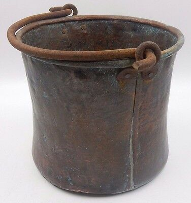 "Vintage Antique 9-1/4"" Copper Bucket With Wrought Iron Handle"