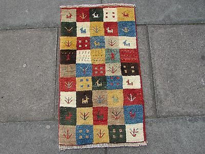 Old Traditional Hand Made Persian Oriental Wool Red Small Gabbeh Rug 85x50cm