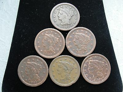 6 US Braided Hair Large Cents * Nice Early Type Coins *