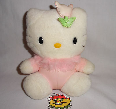 "Hello Kitty Plush Sanrio Smiles 8"" Pink Fuzzy Tulip Japan"