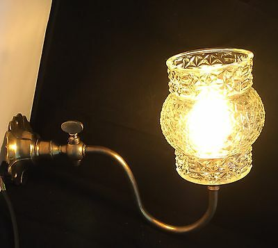 Vintage Solid Brass Gas Light Converted Wall Light/Sconce Original Glass Shade