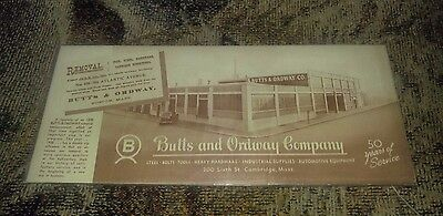 Antique Ink Blotter Advertisement Factory Card Butts & Ordway Co Boston Mass