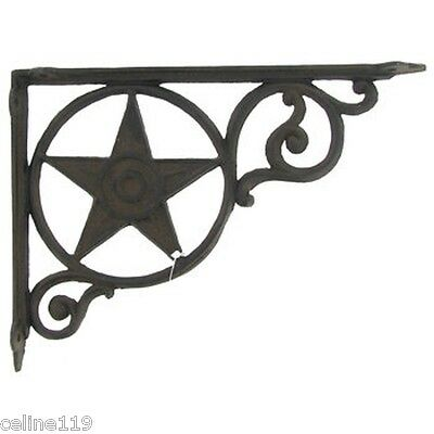 "Set/2 ~9"" Western Star Texas Rustic Cast Iron Shelf Support Wall Brackets Lodge."