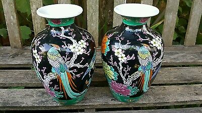 Pair hand painted Japanese VASES black cherry blossom birds.9in/23cm high approx