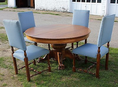 "Dining Set 54"" Round Quartersawn Oak Claw Foot Table w/ 4 Chairs Refinished"