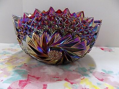 LE Smith Ruby Red Carnival Glass Iridescent Bowl Buzz Star Pinwheel Starburst