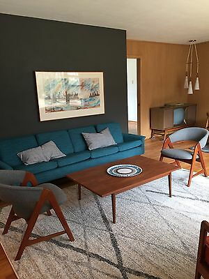 Mid-century turquoise couch