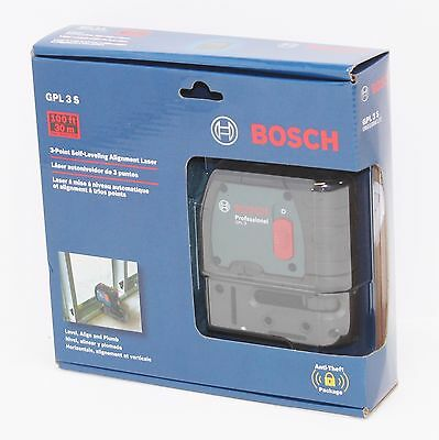 New Sealed Bosch GPL 3 S 3-Point Laser Alignment with Self-Leveling